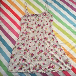 90s Inspired White Floral A-Line Mini Dress